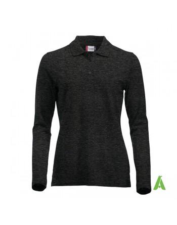 Polo de mujer manga larga color melange antracita gris 955, para empresas, promoción y deporte.