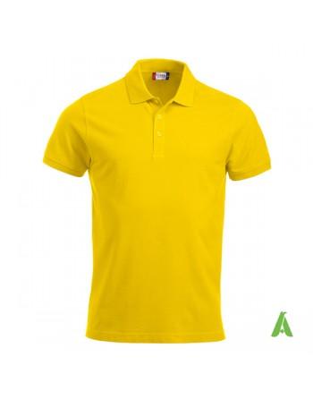 Polo de piqué color amarillo 10, manga corta, unisex, personalizado con bordado para empresas y tiempo libre.