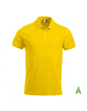 Gelbe Piqué-Polo Farbe 10, kurze Ärmel, Unisex, mit Stickerei für Firmen und Freizeit personalisiert.