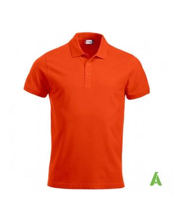 Polo unisexe orange 18, manches courtes, tissu peigné, avec broderies pour les entreprises et le temps libre.