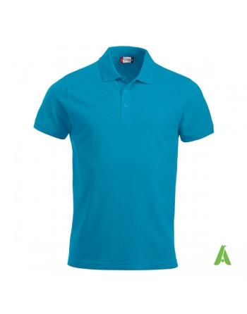 Polo unisexe bleue 54, manches courtes, tissu peigné, avec broderies pour les entreprises et le temps libre.