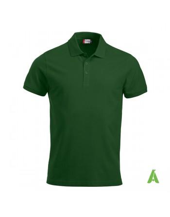 Polo de piqué color verde bosque 68, manga corta, unisex, personalizado con bordado para empresas y tiempo libre.