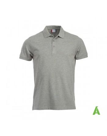 Polo de piqué color gris melange 95, manga corta, unisex, personalizado con bordado para empresas y tiempo libre.