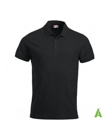 Schwarze Piqué-Polo Farbe 99, kurze Ärmel, Unisex, mit Stickerei für Firmen und Freizeit personalisiert.