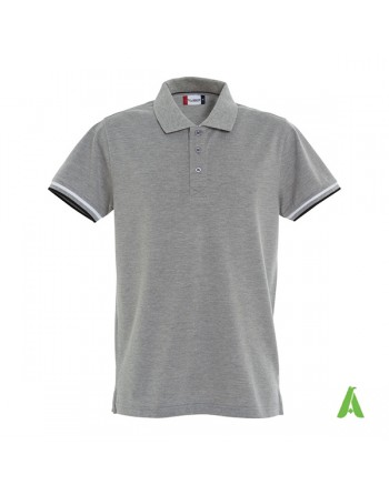 Polo piqué à manches courtes bi couleur gris melange 95, avec broderie personnalisée pour entreprises et promotionnel.
