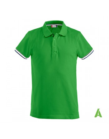 Zweifarbiges Poloshirt, grüne Farbe, elegant mit individueller Bestickung für Unternehmen und Promotion.