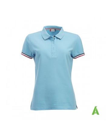 Polo piqué couleur bleu ciel 51, à manches courtes pour femme personnalisée. Tissu peigné sans retrait