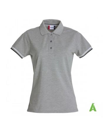 Polo donna m/corta colore grigio melange 95, maniche colori in contrasto, ricamo personalizzato, per promozionale e aziende.