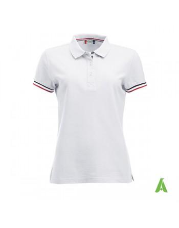 Polo donna m/corta colore bianco 00, maniche colori in contrasto, ricamo personalizzato, per promozionale e aziende.