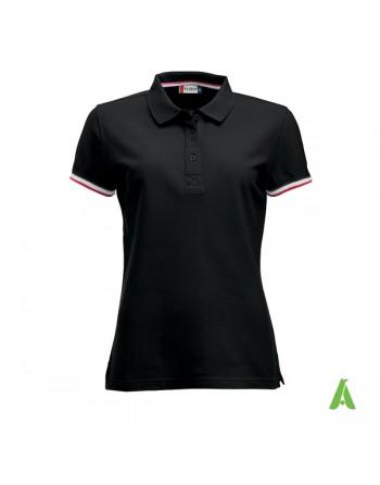 Polo donna m/corta colore nero 99, maniche colori in contrasto, ricamo personalizzato, per promozionale e aziende.