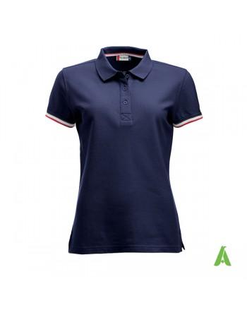 Polo donna m/corta colore blu navy 580, maniche colori in contrasto, ricamo personalizzato, per promozionale e aziende.
