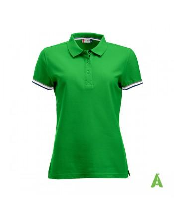 Polo donna m/corta colore verde 605, maniche colori in contrasto, ricamo personalizzato, per promozionale e aziende.