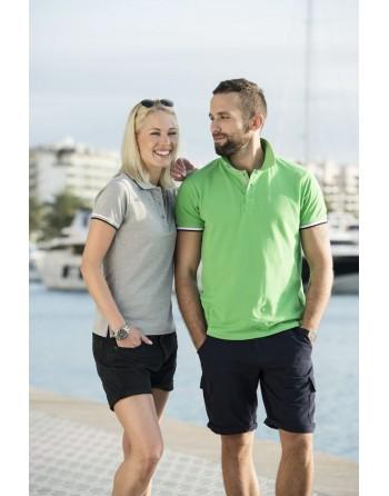Polo donna m/corta con maniche colori in contrasto, ricamo personalizzato, per promozionale e aziende.