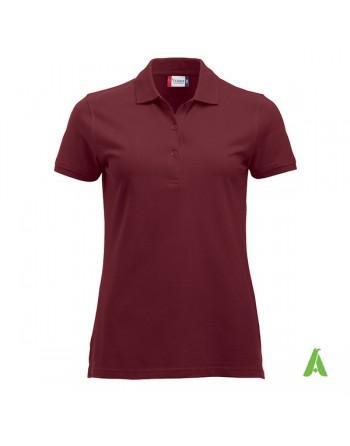 Polo burdeos 38 para mujer, manga corta, tejido sin encogimiento, personalizado con bordados para promociones y empresas