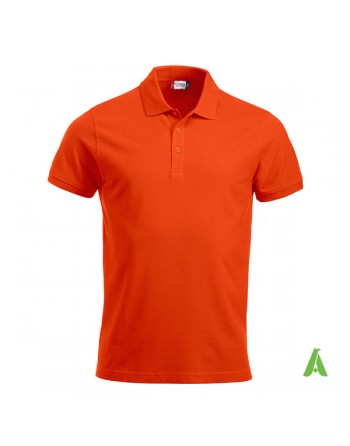 Lady piquet poloshirt, orange color 18, short sleeves, with bespoke logo for companies, freetime, promotions.