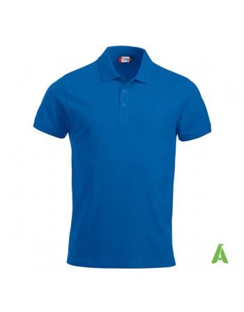 Polo femme bleue royal 55, manches courtes, tissu peigné, avec broderies pour les entreprises et le temps libre.