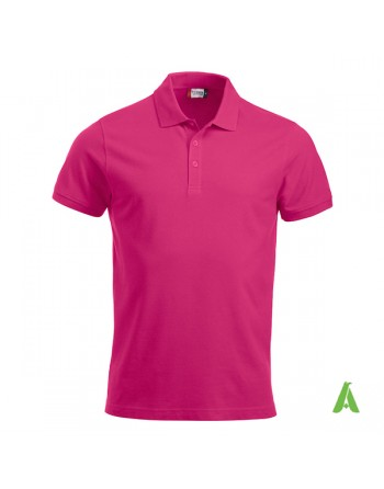 Lady piquet poloshirt, fucsia color 300, short sleeves, with bespoke embroidered logo for companies, freetime, promotions.