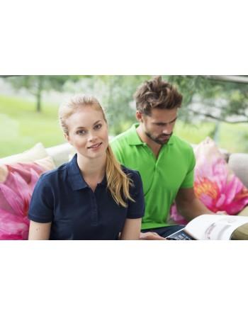 Polo femme manches courtes, tissu peigné, avec broderies pour les entreprises et le temps libre.