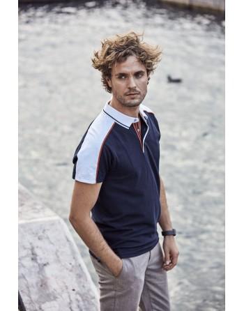 Zweifarbiges Piqué-Poloshirt, Kurzarm, marineblaue / weiße Farbe, Bestickung für Firmen, Promotions, Events und Sport.