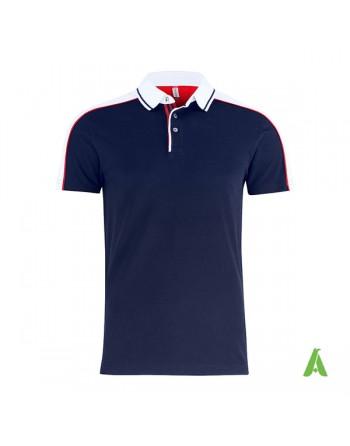 Polo piqué bi-couleur, manches courtes, couleur bleu marine / blanc, broderies personnalisées pour entreprises et promotions.