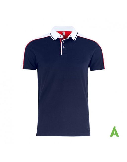 Polo piquet bicolore m/corta colore blu navy/bianco con ricamo personalizzato per aziende, promozioni, eventi e sport.