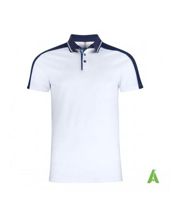 Polo piqué bi-couleur, manches courtes, couleur blanc/bleu marine, broderies personnalisées pour entreprises et promotions.