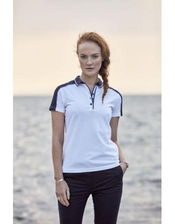 Polo piquet bicolore m/corta colore bianco/blu navy con ricamo personalizzato per aziende, promozioni, eventi e sport.