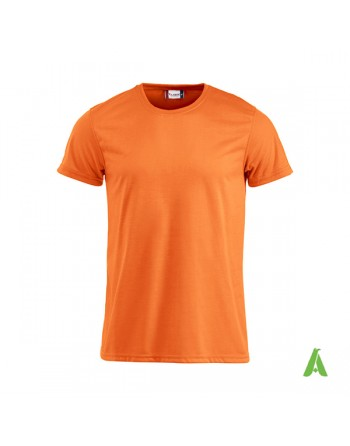 Tshirt unisex fluorescent couleur orange fluo, avec impression par sublimation et la broderie, pour promotionnel.