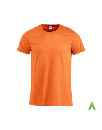 Unisex Fluoreszierendes T-Shirt orange Farbe mit stickerei für werbung und unternehmen.