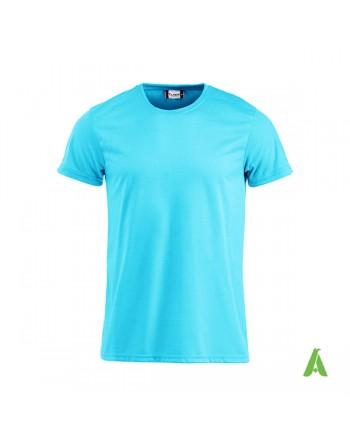Unisex Fluoreszierendes T-Shirt, fluo blaue Farbe mit stickerei für werbung und unternehmen.