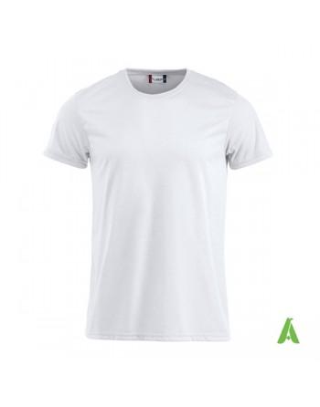 Tshirt unisex fluorescent couleur blanche, avec impression par sublimation et la broderie, pour promotionnel.