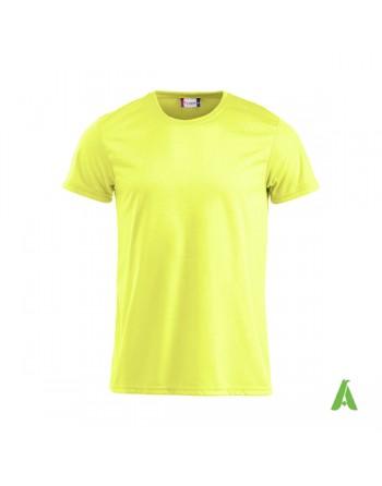 Tshirt unisex fluorescent couleur jaune fluo, avec impression par sublimation et la broderie, pour promotionnel.
