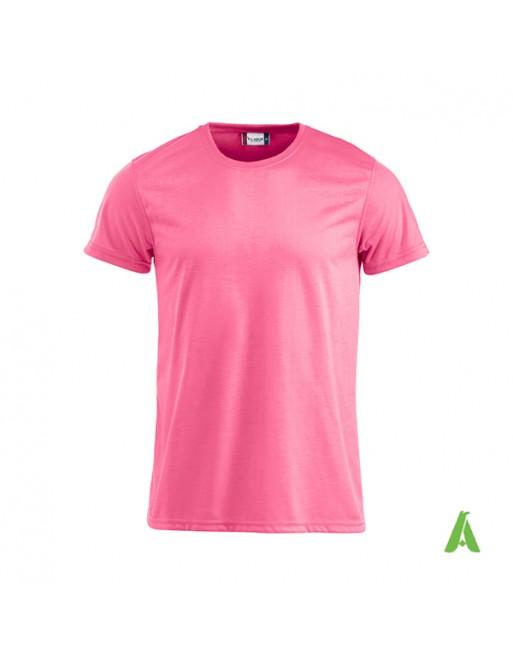 Tshirt unisex fluorescent couleur rose fluo, avec impression par sublimation et la broderie, pour promotionnel.