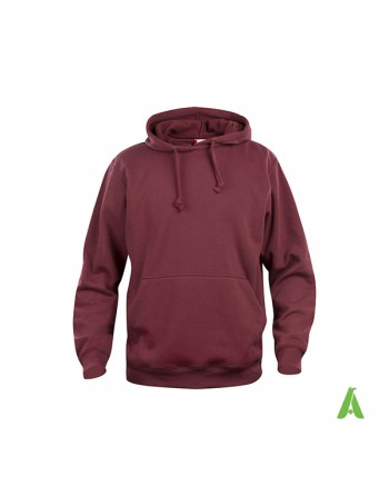Burgundy color 38, unisex hooded sweatshirt with custom embroidery, for businesses, sports and leisure.