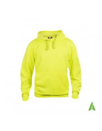 Yellow color 11, unisex hooded sweatshirt with custom embroidery, for businesses, sports and leisure.