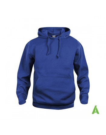 Royal blue color 55, unisex hooded sweatshirt with custom embroidery, for businesses, sports and leisure.