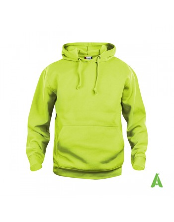 Fluo green color 600, unisex hooded sweatshirt with custom embroidery, for businesses, sports and leisure.