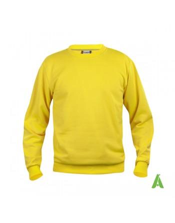 Sweat shirt unisexe à col rond couleur jaune 10 avec personnalisation brodé pour promotionnel, sport et entreprises.
