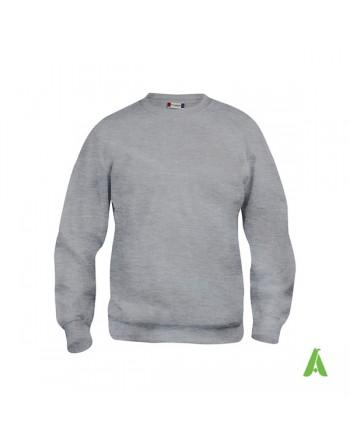 Sudadera cuello redondo color gris melange 95, unisex, con bordado para empresas, promocional, deporte y eventos.