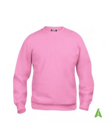 Sweat shirt unisexe à col rond couleur rose 250 avec personnalisation brodé pour promotionnel, sport et entreprises.