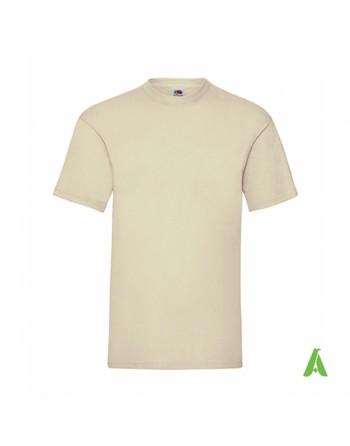 Camiseta de color natural N.60, personalizada con estampado serigrafia y logo para empresas, promocionales y deportivas.