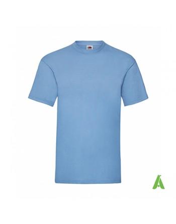 Camiseta de color azul cielo YT, personalizada con estampado, serigrafia y logo para empresas, promocionales y deportivas.