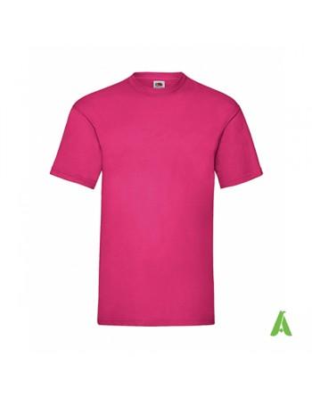 T-shirt de couleur fucsia N.57, personnalisé avec impression de logo pour les entreprises, la promotion et le sport.