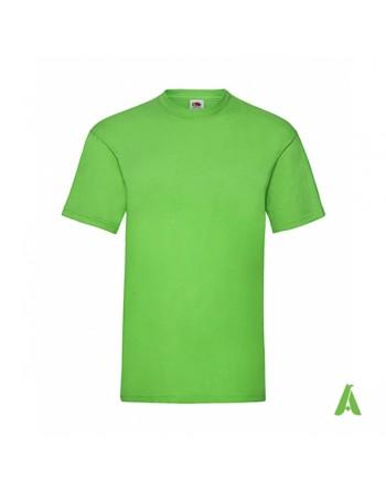 Camiseta de color verde lima lm, personalizada con estampado, serigrafia y logo para empresas, promocionales y deportivas.