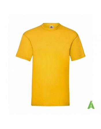 T-shirt de couleur jaune soleil N.34, personnalisé avec impression de logo pour les entreprises, la promotion et le sport.