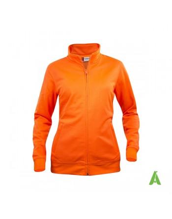 Sweat Strickjacke Frau fluoreszierende orange Farbe 170, mit individueller Stickerei  für werbung, sport, unternehmen.