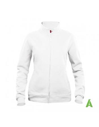 Sweat Strickjacke Frau weiße Farbe 00, mit individueller Stickerei  für werbung, sport, unternehmen.