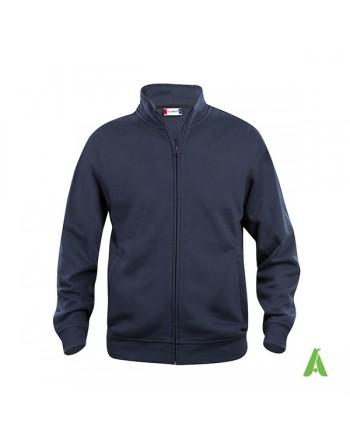 Strickjacke Sweatshirt-Cardigan in marineblaue Farbe 580, mit individueller Bestickung für Unternehmen, Promotion und Sport.