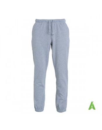 Pantalones de traje gris melange en tejido de sudadera para deporte, personalizados con bordado o estampado.