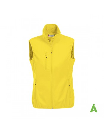 Woman softshell vest yellow colour with bespoked embroidery for corporates, sport and promotions.